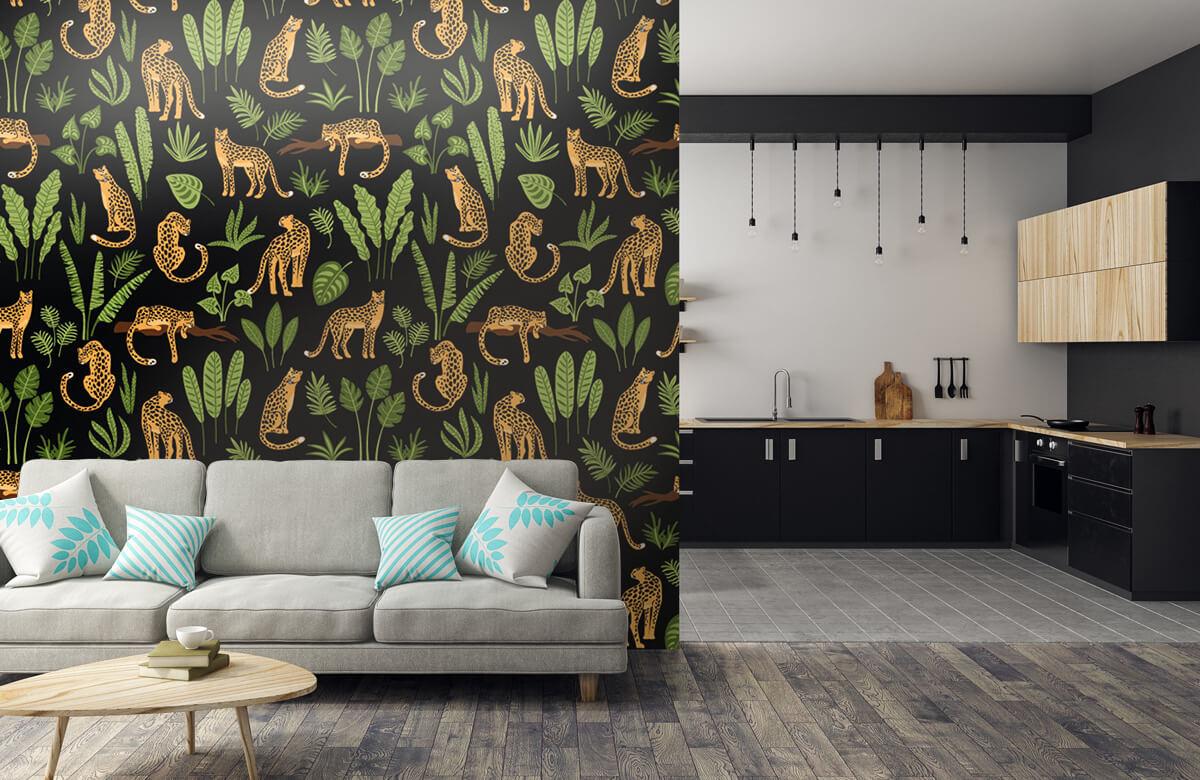Jungle - Luipaard patroon op een zwarte achtergrond - Tienerkamer 5