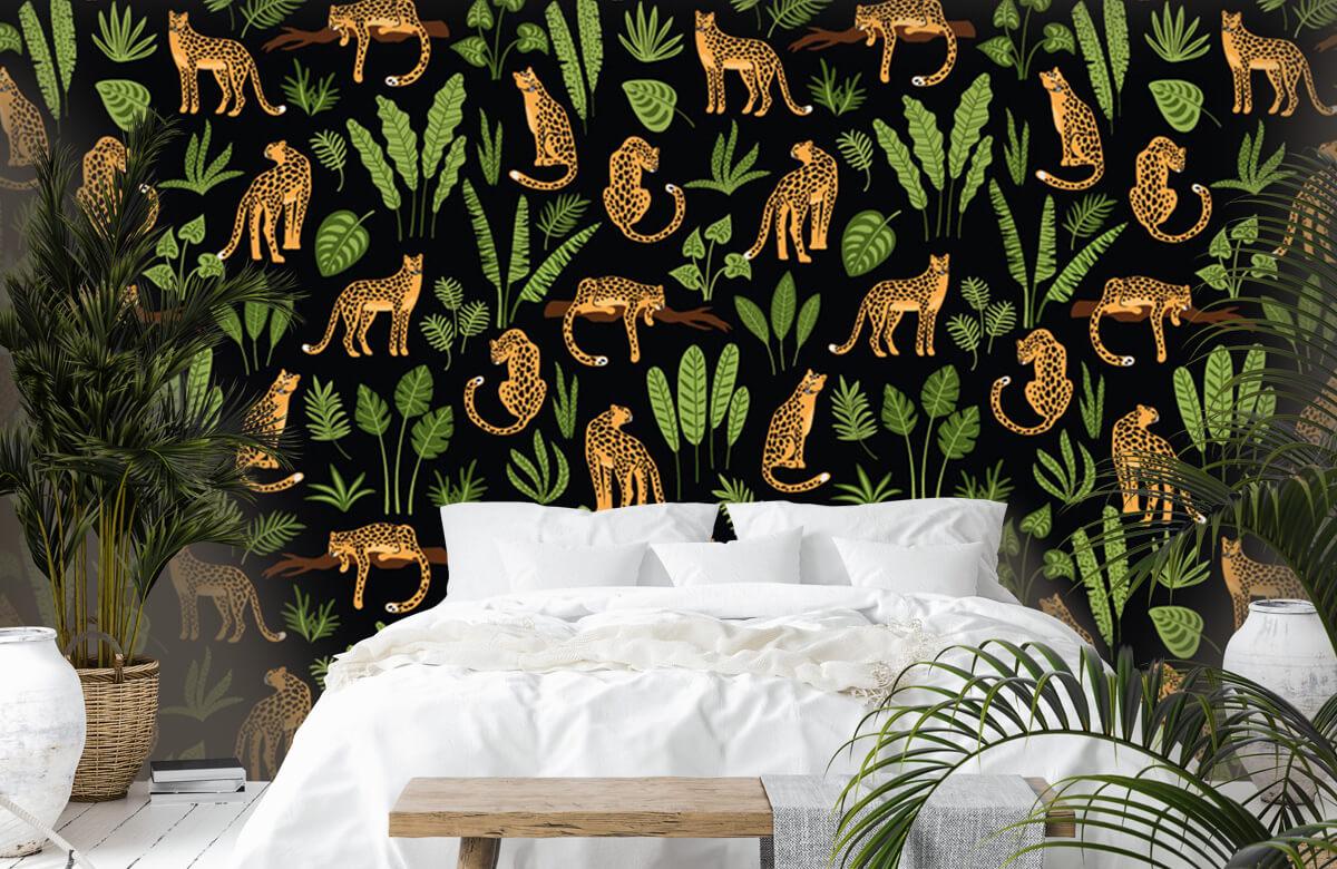 Jungle - Luipaard patroon op een zwarte achtergrond - Tienerkamer 6