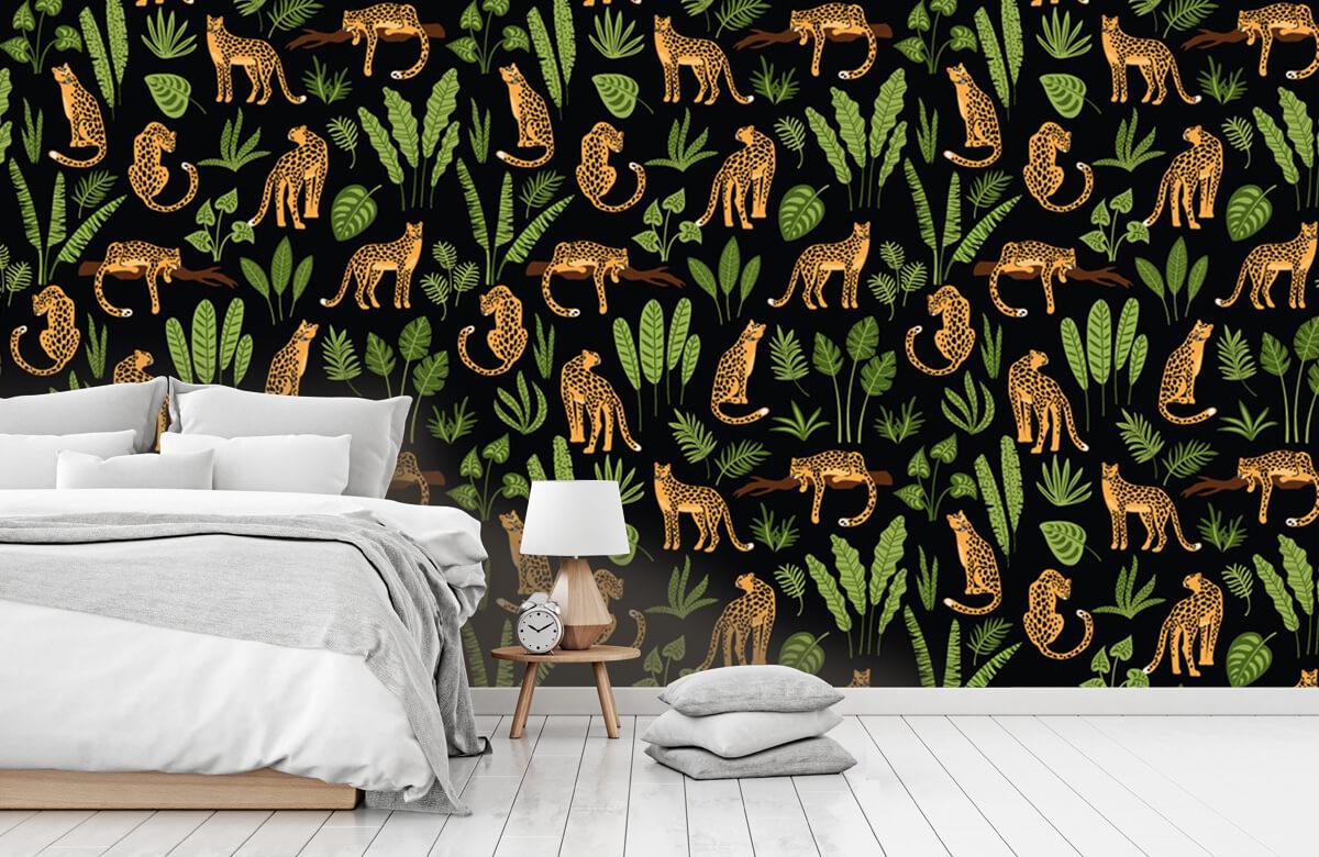 Jungle - Luipaard patroon op een zwarte achtergrond - Tienerkamer 7