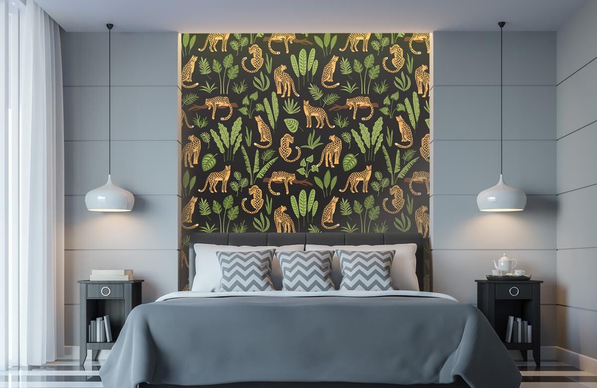 Jungle - Luipaard patroon op een zwarte achtergrond - Tienerkamer 8