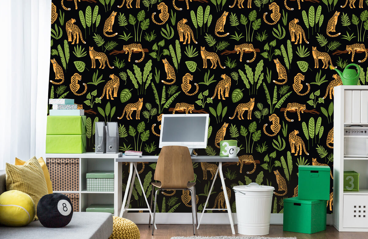 Jungle - Luipaard patroon op een zwarte achtergrond - Tienerkamer 9