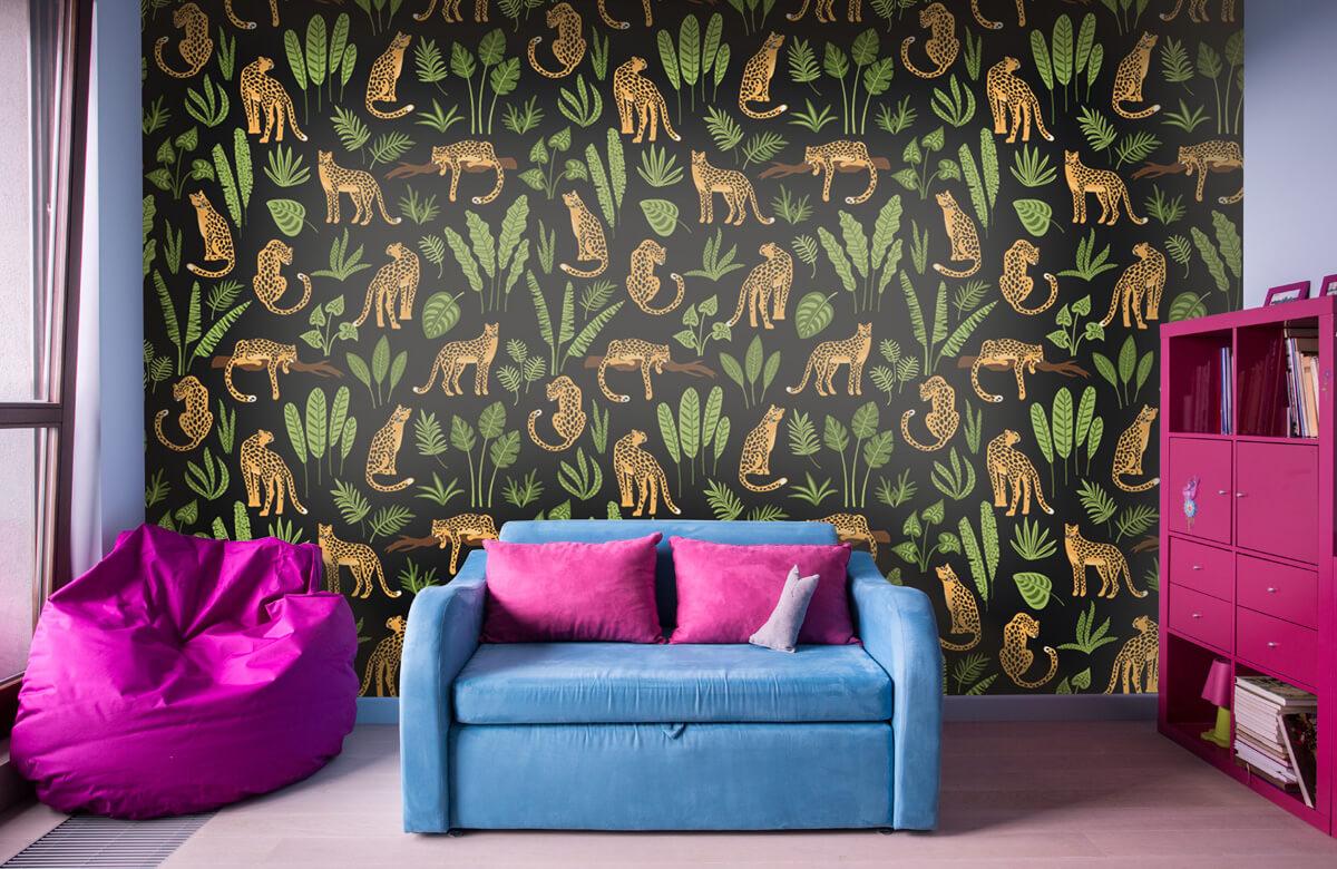 Jungle - Luipaard patroon op een zwarte achtergrond - Tienerkamer 10
