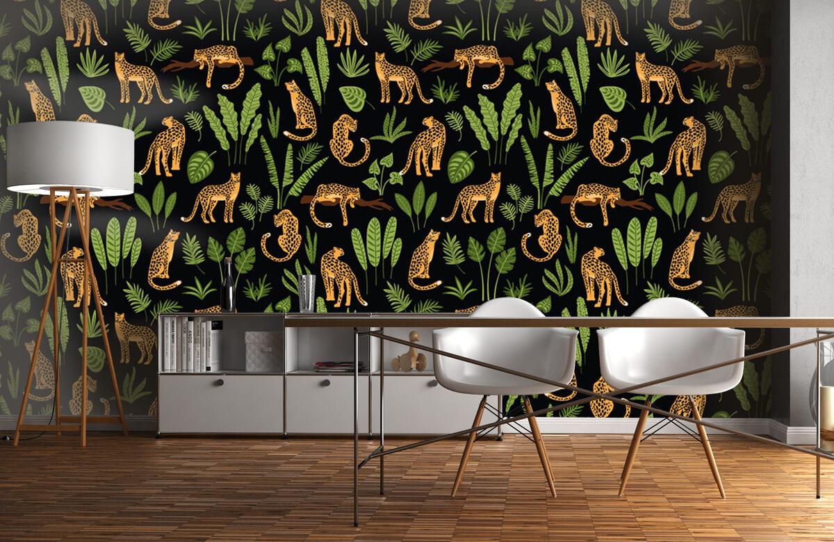 Jungle - Luipaard patroon op een zwarte achtergrond - Tienerkamer 11