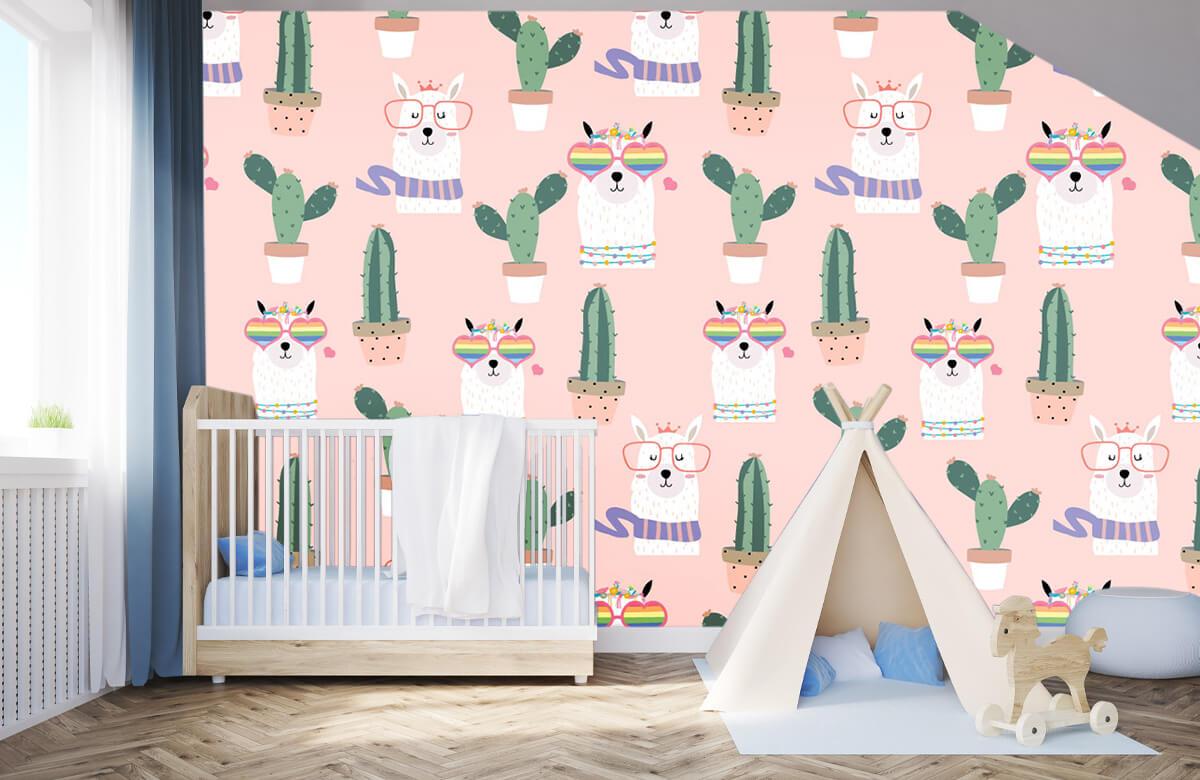Kinderbehang - Cactussen en lama's - Kinderkamer 2