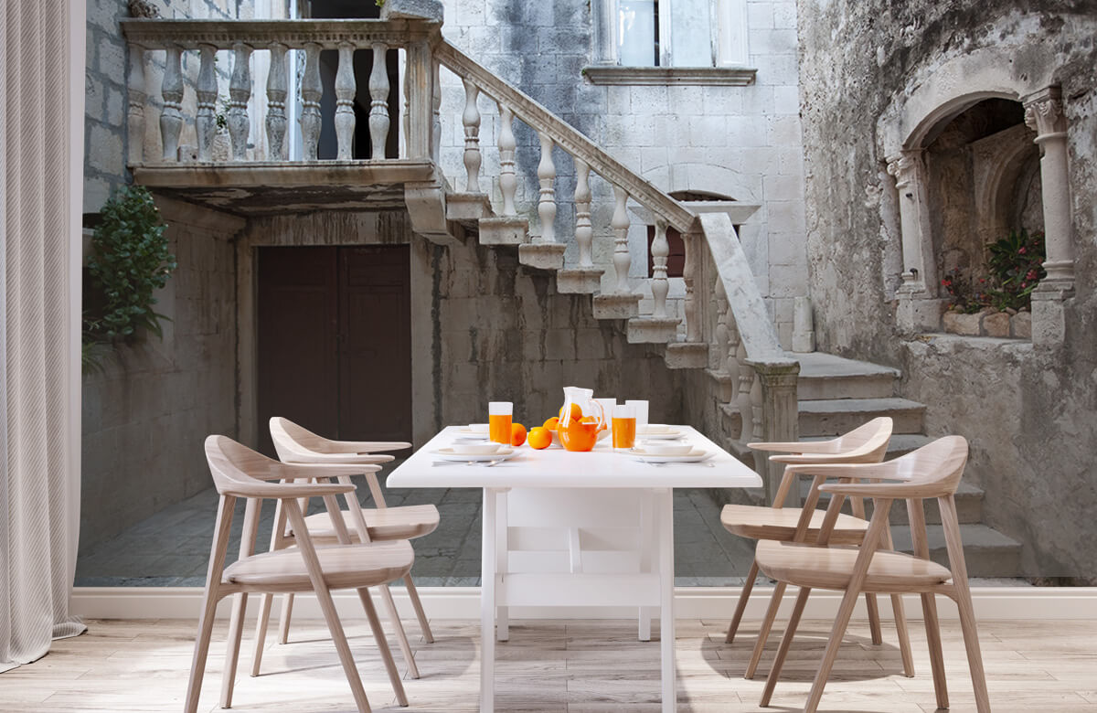 Gebouwen - Traptredes in de oude stad Korčula - Woonkamer 1