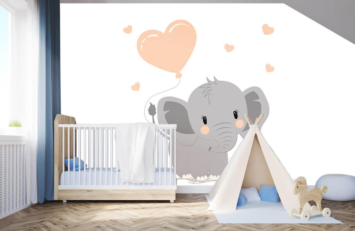 Olifanten - Olifant met hartje - Babykamer 3