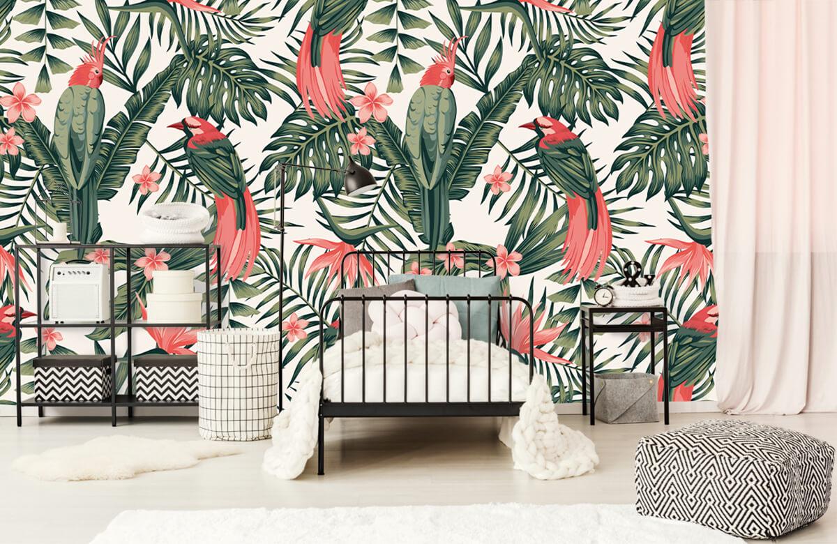 Jungle - Tropische planten, bloemen en vogels - Tienerkamer 1