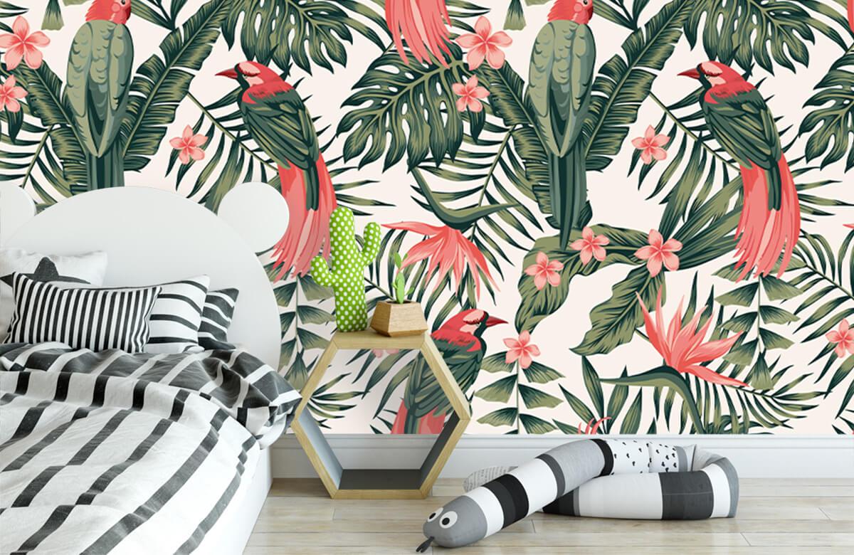 Jungle - Tropische planten, bloemen en vogels - Tienerkamer 2