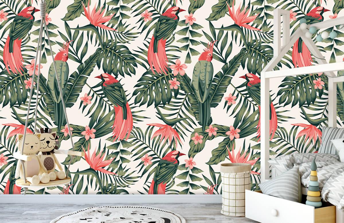 Jungle - Tropische planten, bloemen en vogels - Tienerkamer 3