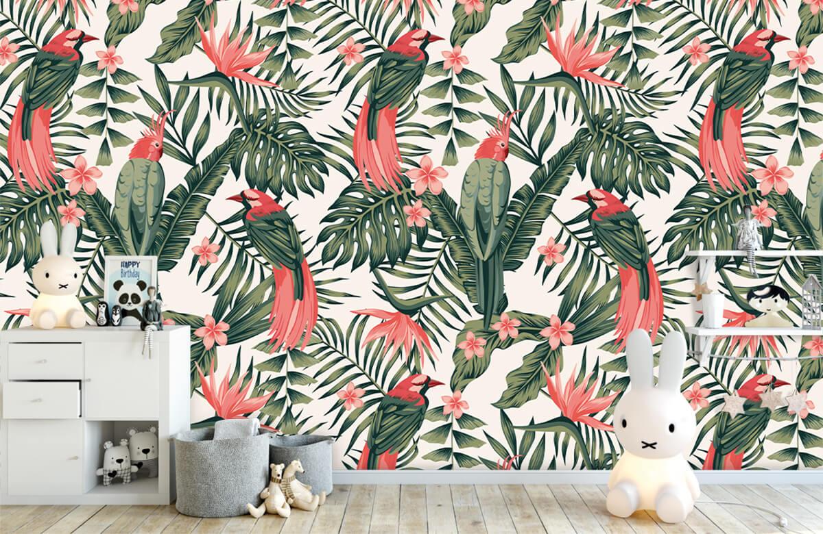 Jungle - Tropische planten, bloemen en vogels - Tienerkamer 4