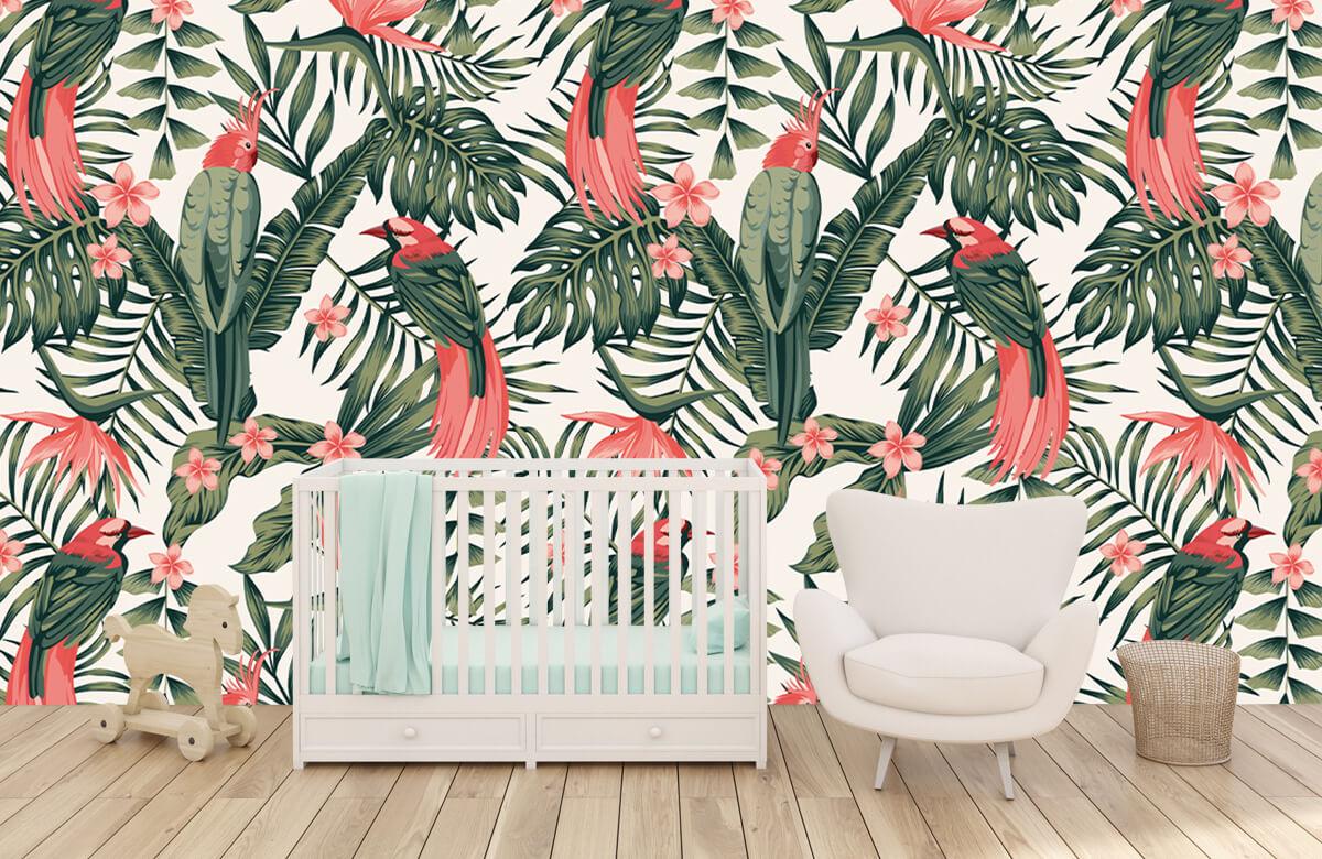 Jungle - Tropische planten, bloemen en vogels - Tienerkamer 5