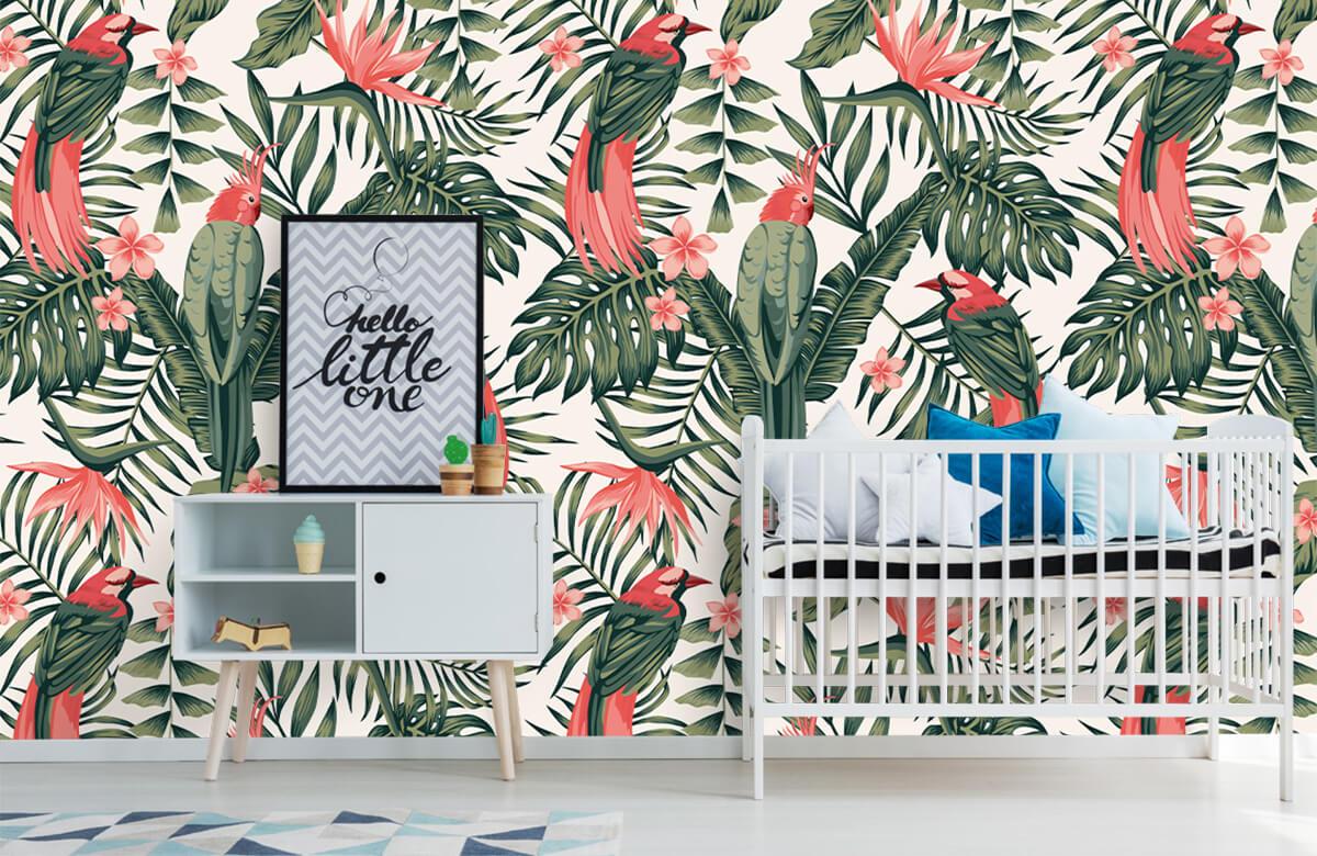 Jungle - Tropische planten, bloemen en vogels - Tienerkamer 6