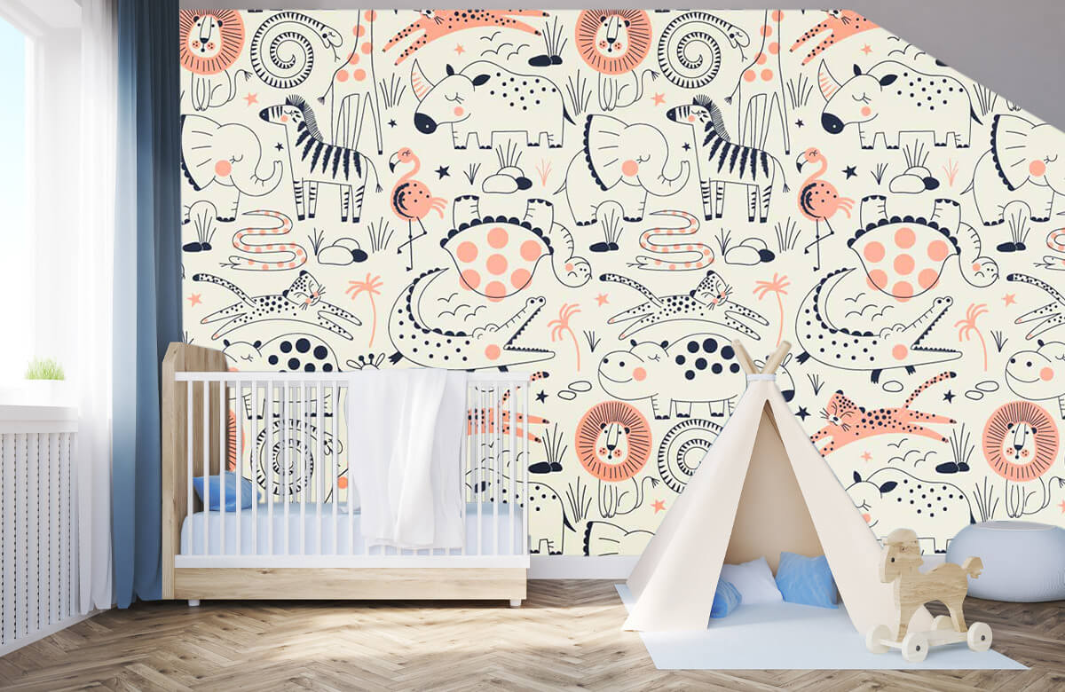 Kinderbehang - Getekende jungle dieren - Kinderkamer 3