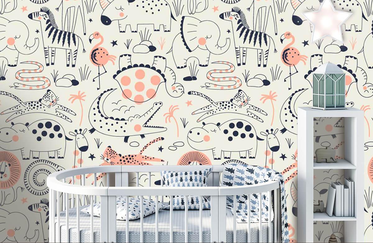 Kinderbehang - Getekende jungle dieren - Kinderkamer 5