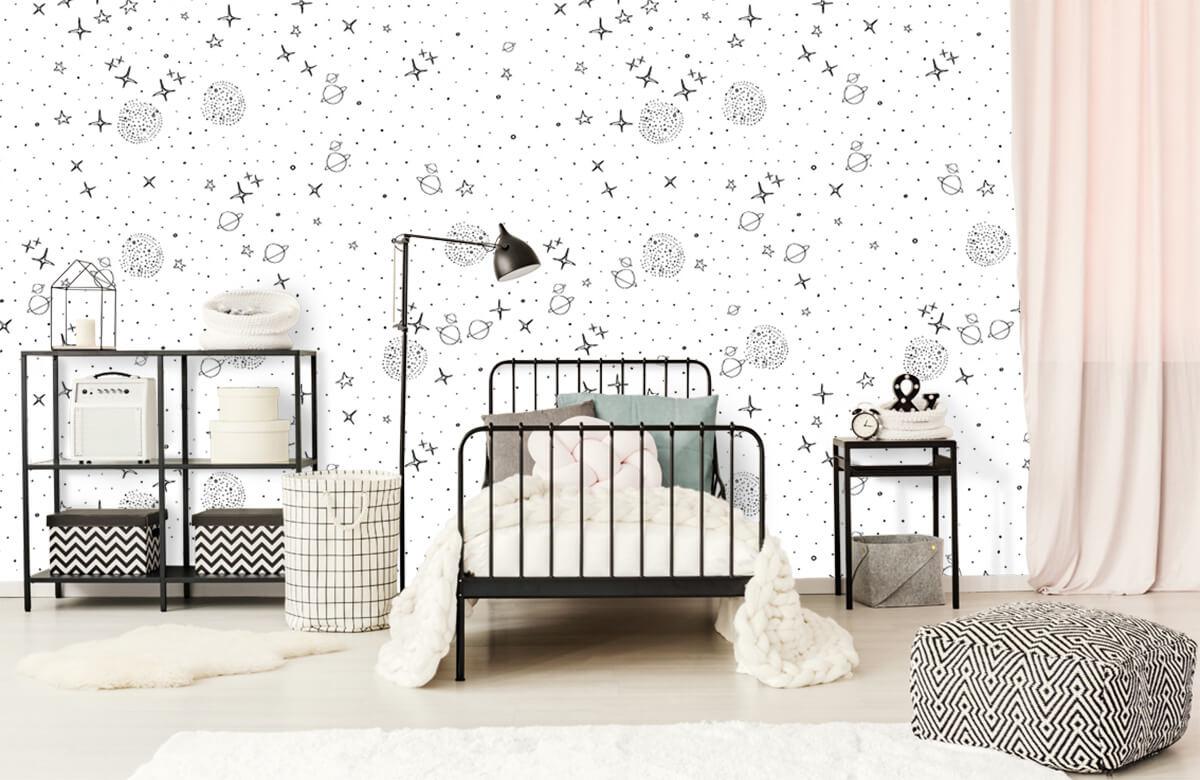 Overige - Ruimte patroon zwart-wit - Kinderkamer 2