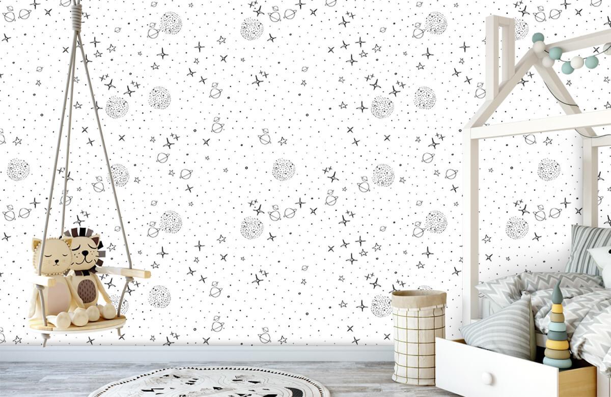 Overige - Ruimte patroon zwart-wit - Kinderkamer 4
