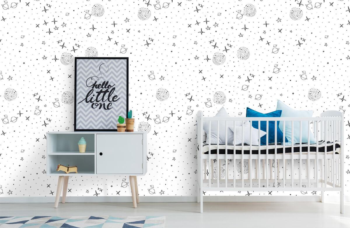 Overige - Ruimte patroon zwart-wit - Kinderkamer 6