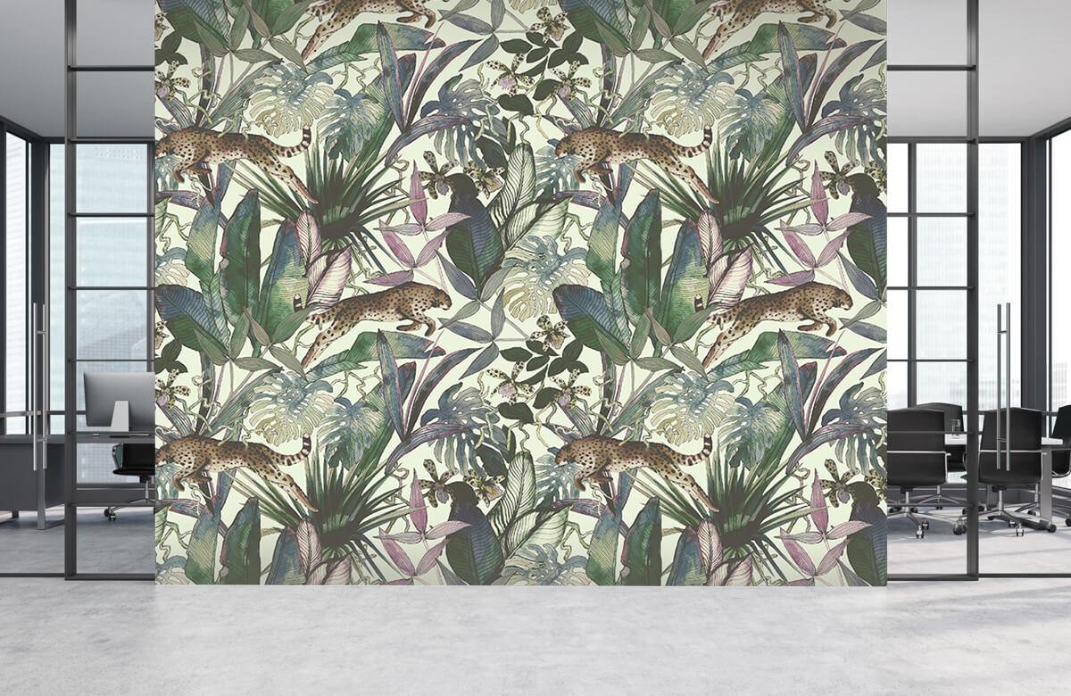 Tijgers & Leeuwen - Cheetah tussen de tropische bladeren - Kinderkamer 3