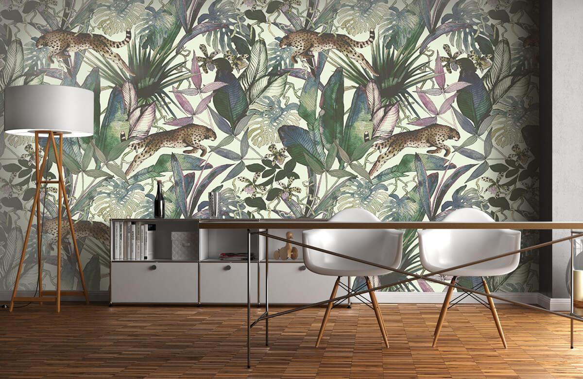 Tijgers & Leeuwen - Cheetah tussen de tropische bladeren - Kinderkamer 11