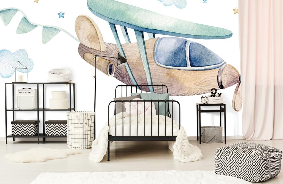 Jongensbehang - Waterverf vliegtuig - Babykamer 2