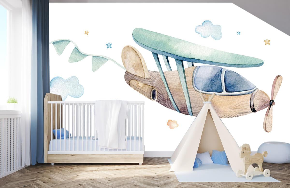 Jongensbehang - Waterverf vliegtuig - Babykamer 3