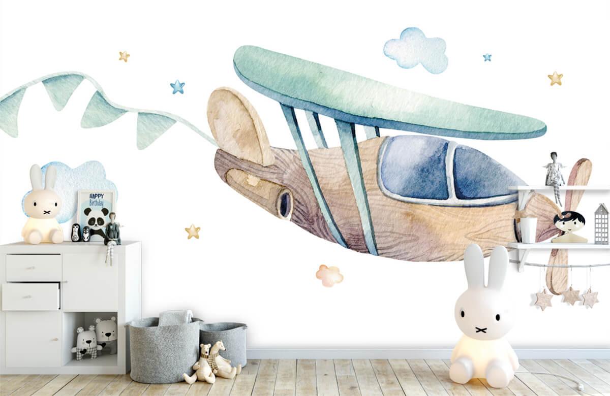 Jongensbehang - Waterverf vliegtuig - Babykamer 1