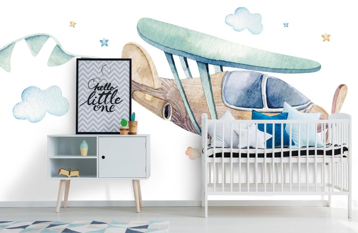 Jongensbehang - Waterverf vliegtuig - Babykamer 6