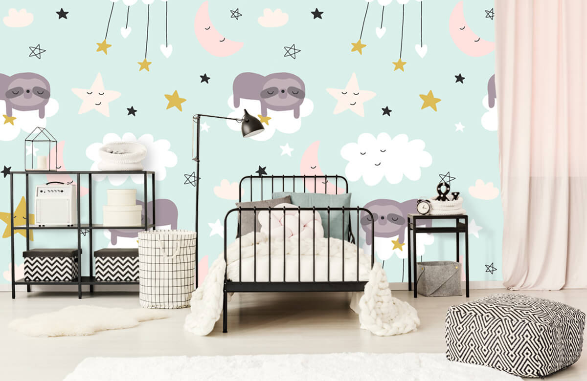 Baby behang - Slapende luiaard - Babykamer 2