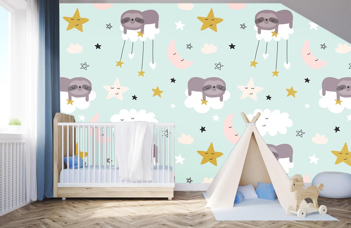 Baby behang - Slapende luiaard - Babykamer 3