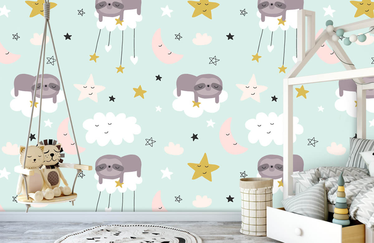 Baby behang - Slapende luiaard - Babykamer 1