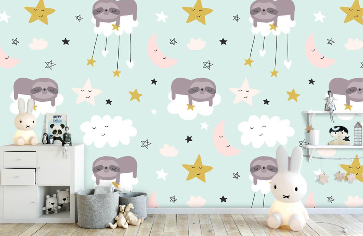 Baby behang - Slapende luiaard - Babykamer 4