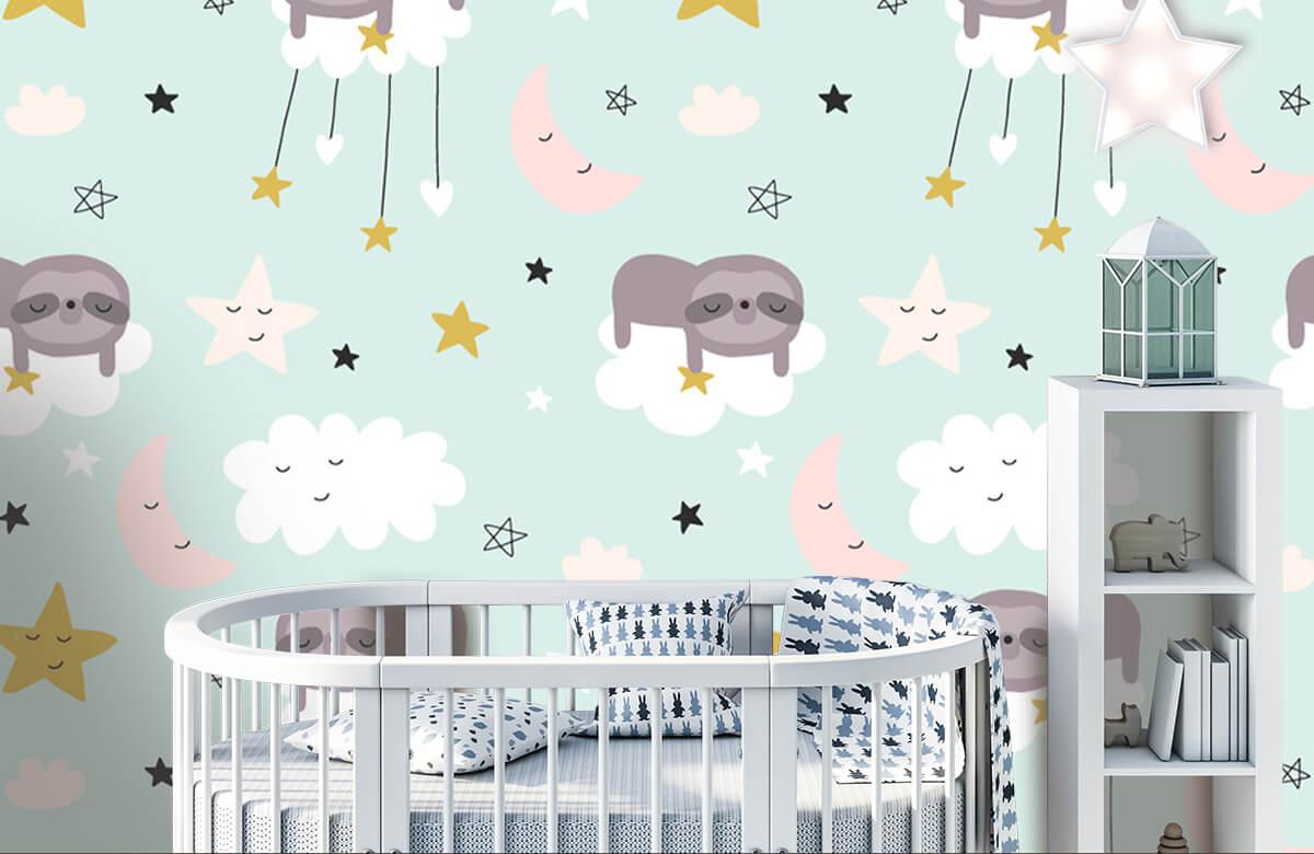 Baby behang - Slapende luiaard - Babykamer 5
