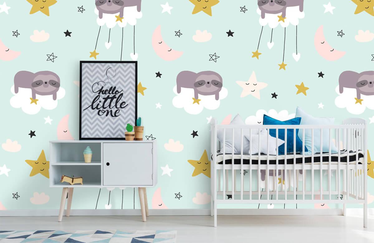 Baby behang - Slapende luiaard - Babykamer 6