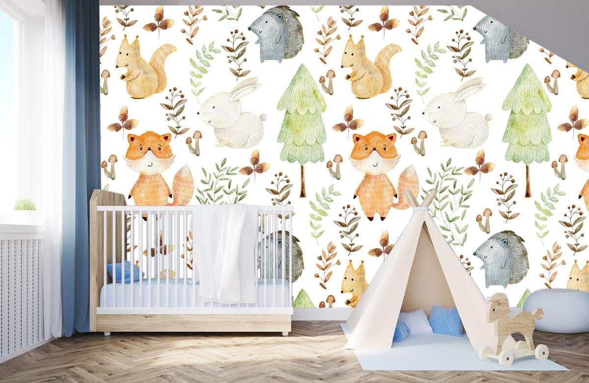 Kinderbehang - Waterverf bosdieren - Kinderkamer 3