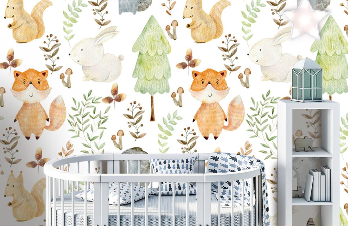 Kinderbehang - Waterverf bosdieren - Kinderkamer 5