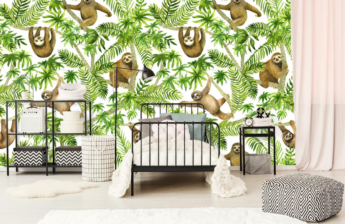 Kinderbehang - Luiaards en takken - Kinderkamer 2
