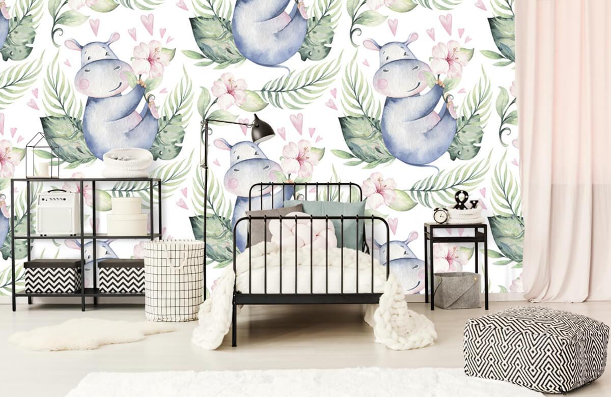 Baby behang - Nijlpaardjes - Babykamer 2