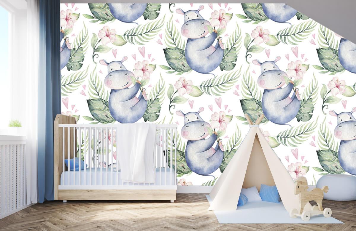 Baby behang - Nijlpaardjes - Babykamer 3