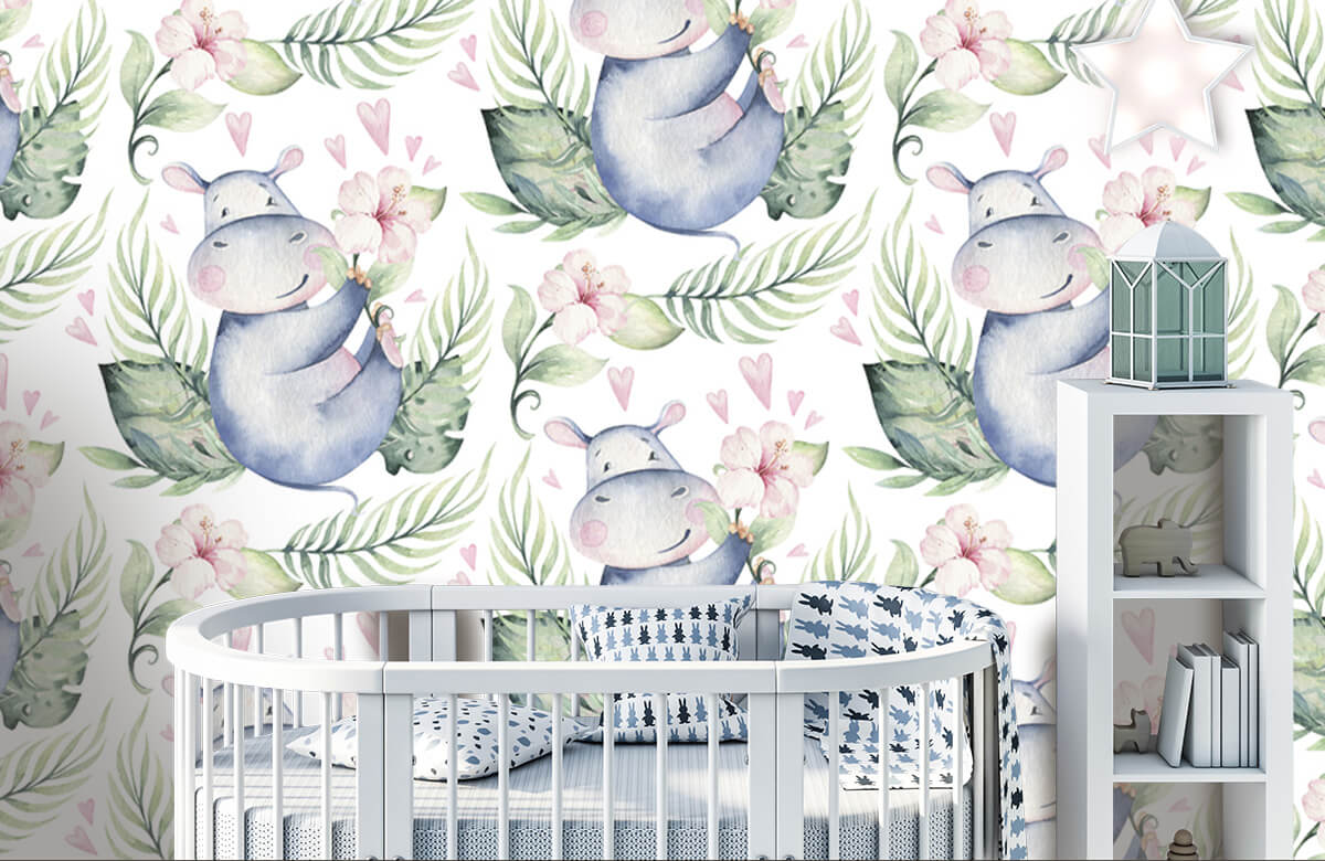 Baby behang - Nijlpaardjes - Babykamer 1