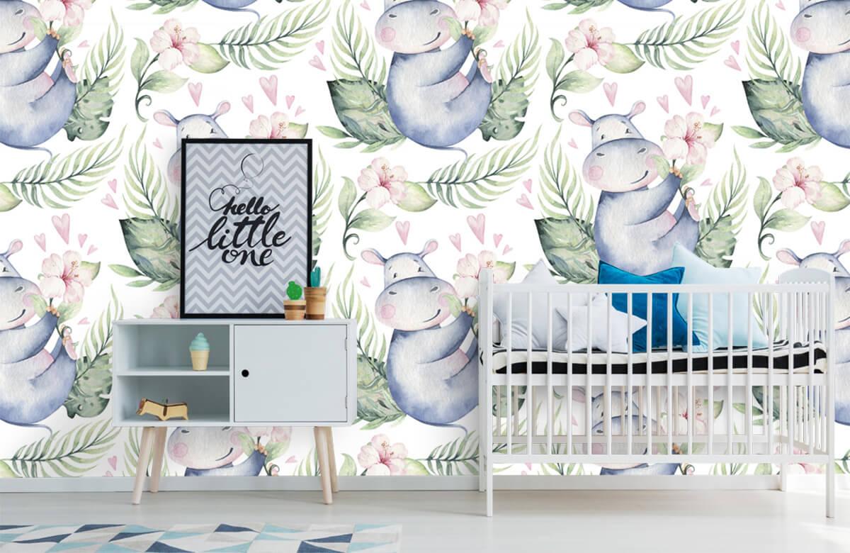 Baby behang - Nijlpaardjes - Babykamer 6