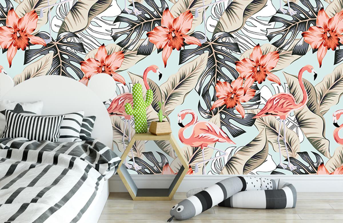 Jungle - Tropische roze flamingo - Tienerkamer 2