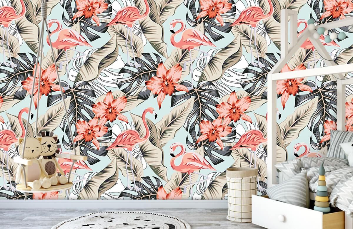 Jungle - Tropische roze flamingo - Tienerkamer 3