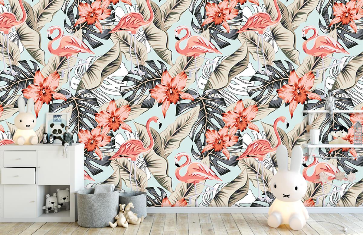 Jungle - Tropische roze flamingo - Tienerkamer 4