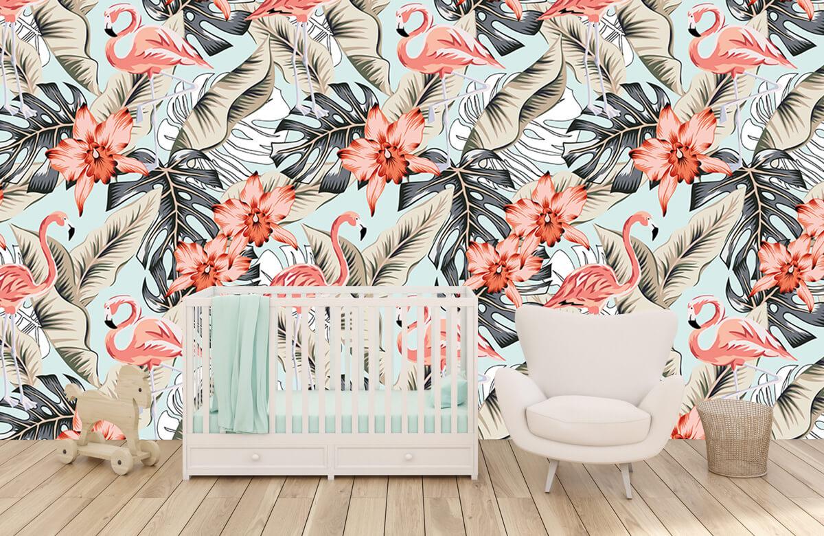 Jungle - Tropische roze flamingo - Tienerkamer 5