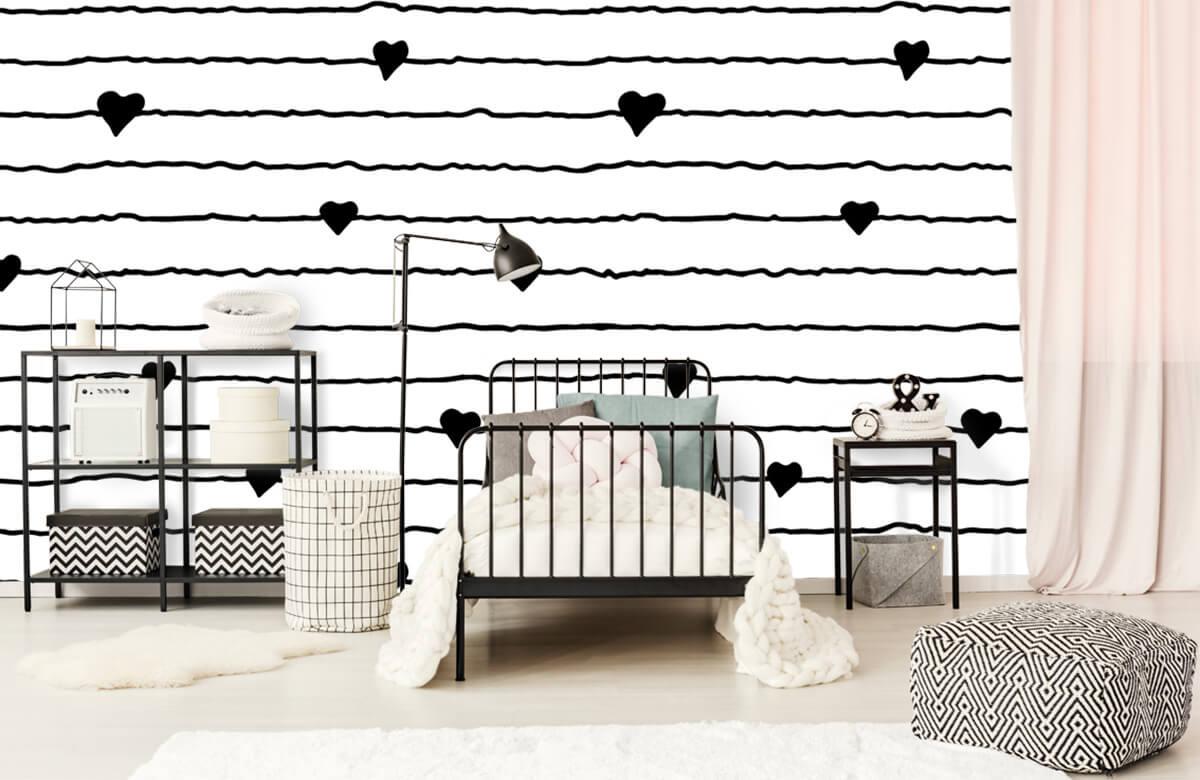 Zwart Wit behang - Hartjes en lijnen - Kinderkamer 1