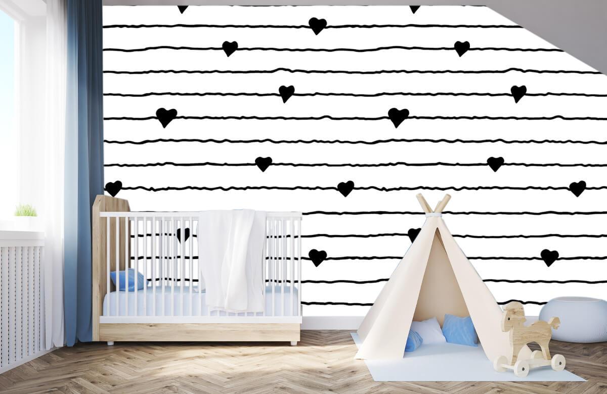 Zwart Wit behang - Hartjes en lijnen - Kinderkamer 2