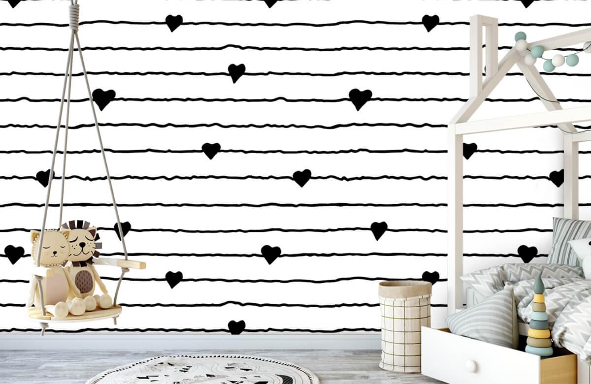 Zwart Wit behang - Hartjes en lijnen - Kinderkamer 3