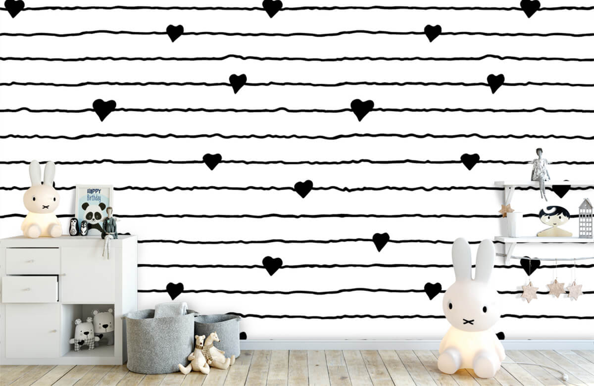 Zwart Wit behang - Hartjes en lijnen - Kinderkamer 4