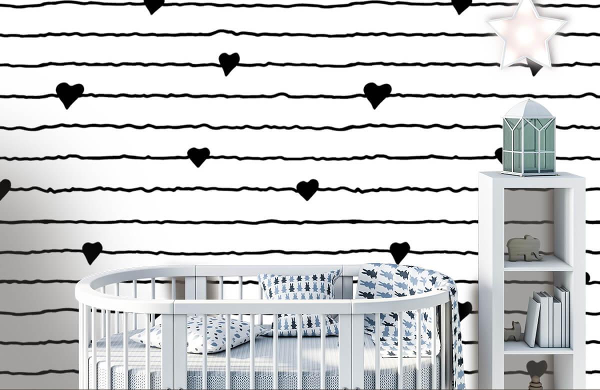 Zwart Wit behang - Hartjes en lijnen - Kinderkamer 5