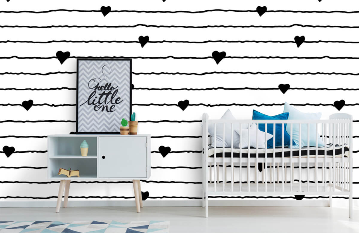 Zwart Wit behang - Hartjes en lijnen - Kinderkamer 6
